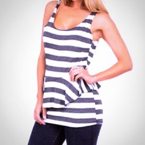 Codigo Sleeveless Striped Peplum Open Back Top M